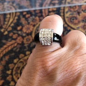 Black Plastic and Crystal Ring